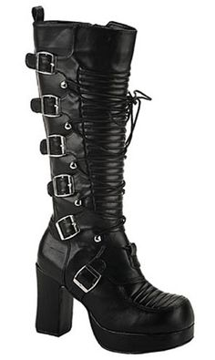 Womens Gothic Buckle Boots
