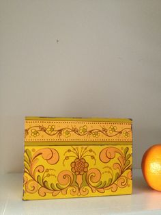 Retro orange yellow and green tin recipe box / by MellaFina, $12.00