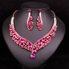 Fashion Indian Jewellery Crystal Necklace Earrings Bridal Jewelry Sets Wedding Dress Accessories Costume Decorations for Brides #Affiliate