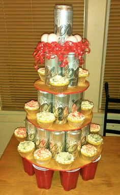 """21st birthday """"cake"""" I made. Cupcakes and all the necessities for beer pong."""