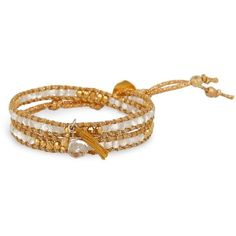 Chan Luu Beaded Wrap Bracelet ($150) ❤ liked on Polyvore featuring jewelry, bracelets, gold, chan luu jewelry, beads jewellery, yellow gold bangle, beaded jewelry and beading jewelry