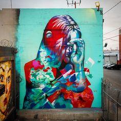 """Hueman"" (Allison Torneros) first mural of 2016, #street #art"
