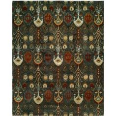Wildon Home® Hand-Tufted Green Area Rug Rug Size: Rectangle x Art Deco Pattern, Ikat Pattern, Beige Area Rugs, Wool Area Rugs, Wool Rug, Rectangular Rugs, Orange Area Rug, Hand Tufted Rugs, Tribal Prints