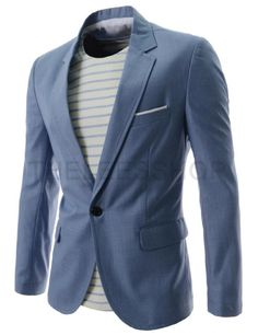 (OSJ1046-BLUE) Thelees Mens Slim Fit Single Breasted Notched Lapel 1 Button Blazer