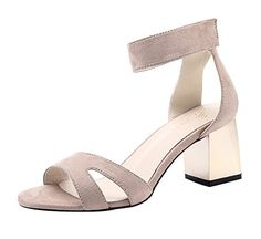 TMates Womens Elegant Velcro OpenToe AnkleStrap Block Heel Sandals 8 BMUSBeige * Check this awesome product by going to the link at the image.(This is an Amazon affiliate link and I receive a commission for the sales)