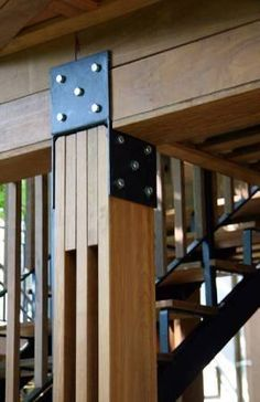 Timber to steel joinery. Timber Structure, Wood Joints, Wood Steel, Steel Bar, Into The Woods, Wood Beams, Wood Columns, Wood Construction, Joinery