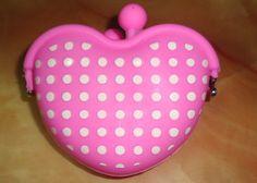China Waterdichte wasbaar roze polka dots hart gevormde silicone munt portemonnee voor meisjes leveranciers