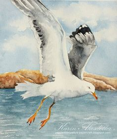 Sunday Watercolors: Seagulls | .    Peppermintpatty's                       .     . Papercraft | Bloglovin'
