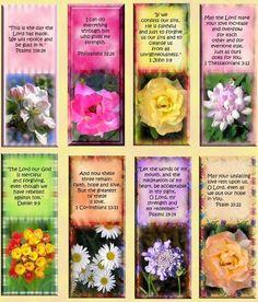 8 Bible Scripture Christian Flower Bookmark - 155 Lb Scrapbook Paper Card Tag