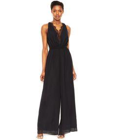 3dd10077834 BCBGeneration Wide-Leg Lace-Trim Jumpsuit   Reviews - Pants   Capris - Women  - Macy s