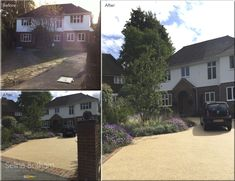 A simple transformation of this front garden. A new resin bound driveway with large perennial borders and brick work edging provides a clean, functional and beautiful entrance to this home.