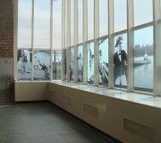 Museum exhibition windows. Translucent vinyl.