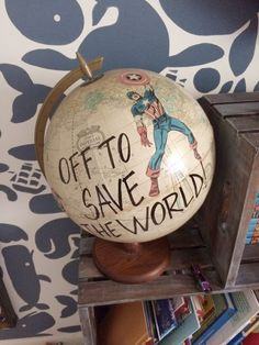 DIY SuperHero Globe… perfect for a boys room, man cave or office! Man Cave Ideas for Basement Transform.