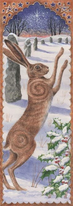 illustration, animal, rabbit, winter, snow, holly, frame. Dancing The Yule Dawn