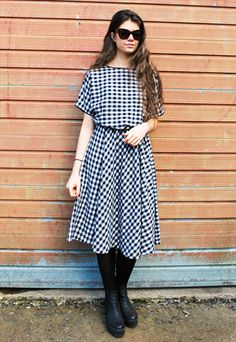 4f6e00908c2 Vintage 60s Monochrome Gingham Dress