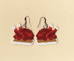 Beaded Earrings | Beaded Thanksgiving Turkey Dinner Earrings using size 11 glass seed ...