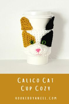 Can you handle the cuteness of this realistic Calico cat crochet cozy pattern?! Picture yourself walking around town, sipping a warm beverage with this purr-fectly adorable cat cozy on your cup! You will be the envy of anyone who is cat obsessed and will never have so much fun crocheting!