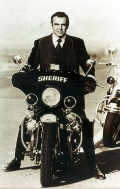 Sean Connery  ...and the iconic Guzzi LAPD model police bike.
