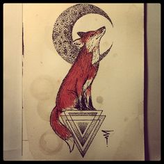 geometric fox line drawing - Google Search