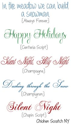 Free Holiday Fonts - Fonts - Ideas of Fonts - Holiday Fonts. Would like to find the original source of these fonts so that I can use them. Holiday Fonts, Christmas Fonts, Christmas Cards, Scandinavian Christmas, Christmas Christmas, Holiday Cards, Christmas Ideas, Fancy Fonts, Cool Fonts