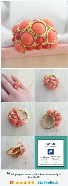 Kenneth Jay Lane Statement coral ring size 6.5 Domed cocktail ring Faux coral Clear crystals gold ring KJL jewelry Wife anniversary gift https://www.etsy.com/OnceLostBoutique/listing/552935383/kenneth-jay-lane-statement-coral-ring?ref=SellerDashboard