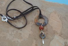 Eclectic Oxidized Washer Necklace Turned Abstract Art: Steampunk, Unisex, Industrial, Rustic