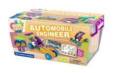 Build ten simple vehicles two inquisitive children encounter in the fun story of their comical trip to the supermarket.