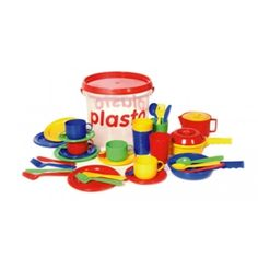 Plasto Kitchen Set - Excellent for indoor/outdoor use, water play, in the sandpit or beach and the backyard mud kitchen. You will find everything you could need for kitchen role-play within this bucket which also provides convenient storage and easy access for children.    This kitchen play set is dishwasher safe and easy to clean.    Manufactured in Finnland, made from safe and child-friendly materials.   Ages 1+