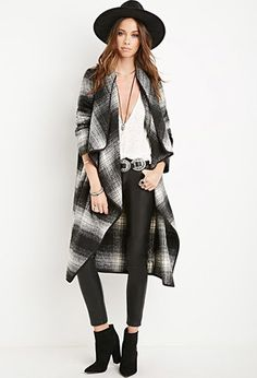 Plaid Draped-Front Coat   Forever 21 - 2000156398