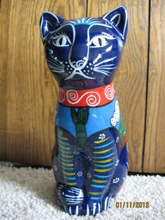 Cat Mexico Glazed Cobalt Blue Red Clay Pottery