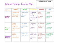 infant blank lesson plan sheets | InfantToddler Lesson Plan