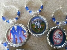NY Yankees party favors, MLB Decorations, wine charms, cupcake toppers and more