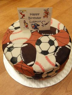 Sports themed birthday cake. | D & images of multi sports decorated cakes - Google Search | cake decor ...
