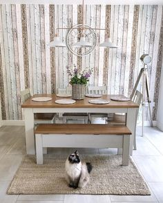 Country kitchen diner dining room inspiration and rag doll cat! Country Kitchen Diner, Dining Room Inspiration, Entryway Tables, Doll, Cat, Furniture, Home Decor, Dolls, Room Decor