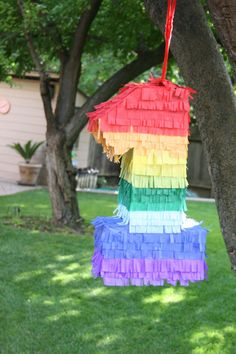 Easy DIY Birthday Pinata any number cut out of cardboard, tape, glue & colorful tissue paper