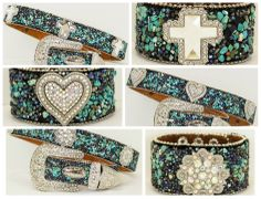 """COWGIRL STYLE Silver Rhinestone Concho & Silver Crystal Buckle on Turquoise Blue Chip Western Leather Belt COMES WITH FREE MATCHING CUFF BRACELET #rhinestonebelt #westernbelt #westernrhinestonebelt SIZES: S=37"""", M=39"""", L=43"""", XL=46"""" $74.50 COMES WITH MATCHING CUFF BRACELET - SPECIAL www.cowgirlsuntam... or Cowgirls Untamed on Facebook"""