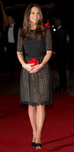 The Duchess of Cambridge wore an Alice Temperley dress and Jimmy Choo shoes at the SportsAid gala dinner in London last month
