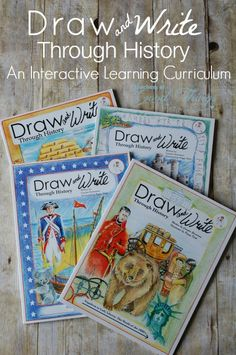 and Write Through History: An Interactive Learning Curriculum - Six books in this series of step by step drawing instructions, along with historical cursive copywork that your children will absolutely love for a homeschool curriculum. History Activities, Teaching History, History Education, Teaching Geography, Classical Education, Teaching Spanish, Interactive Learning, Fun Learning, Interactive Notebooks