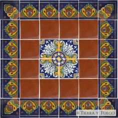 Mexican Tile - Blue Shell & Romanesco Mexican Tile Set - 36 Talavera Tiles