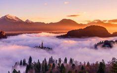 sunset mountains hd wallpaper