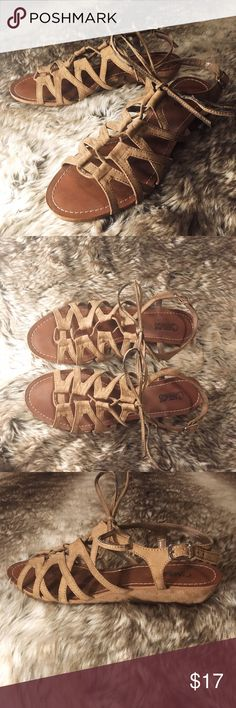 Carlos Santana Lace Up Gladiator Sandals Cute suede-look, short wedge, lace-up, self tie gladiator sandals from Carlos by Carlos Santana! Like-new condition (they may have never been worn outside of the house). Carlos Santana Shoes Sandals