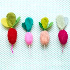 Sweet little radish DIY. my daughter would love making these. could add a rattle to the middle for baby gifts