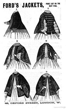 """1860 Cornhill Mag. ad for Ford's Jackets. Descr. next pg. 3.Silk & cashmere quilted w/eiderdown, for invalids. 5.Velvet* w/silk braid. 7.Velvet or superfine braided a la Militaire. 9. Braided velvet* w/white or mauve silk quilted lining. 10.Cashmere or cloth, silk lining, ribbon velvet trimmed w/beads & velvet or moire. 11.Velvet, cashmere, or cloth w/silk braid, steel beads, """"splendid opera or dinner jacket"""" 12.Black cashmere or velvet embr w/straw.  *or superfine, cashmere, glacé silk…"""