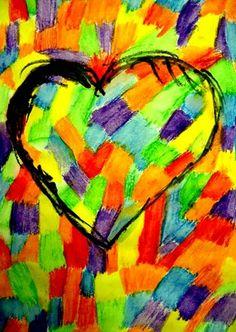 "Jim Dine ""heartwork"" by my student Nicollette, grade 4 (Donna Staten)"