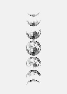 Moon Phase Grey, julisteet ryhmässä Julisteet  / Koot / 30x40 cm @ Desenio AB (8371)