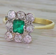 Edwardian Emerald & Old Cut Diamond Cluster Ring, 18k White and Yellow Gold, circa 1910 on Etsy, $2,185.70
