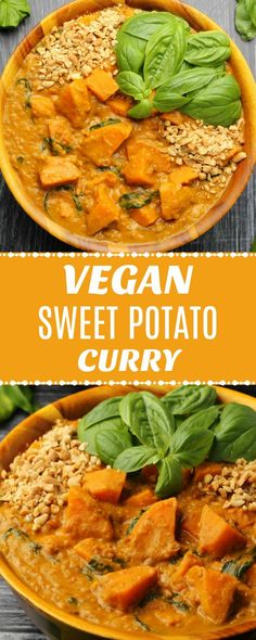 Rich and satisfying vegan sweet potato curry. Hearty, comforting and insanely go… Rich and satisfying vegan sweet potato curry. Hearty, comforting and insanely good, this vegan curry is really simple to make with very impressive results. Vegan Dinner Recipes, Vegan Recipes Easy, Veggie Recipes, Whole Food Recipes, Vegan Recipes With Sweet Potatoes, Sweet Potato Curry Vegan, Simple Vegan Meals, Healthy Vegan Recipes, Vegetarian Sweet Potato Recipes