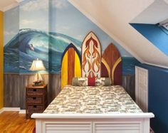surf theme bedroom | Decorating Surfing Themed Bedroom with Surfboard and Awesome Wallpaper ...