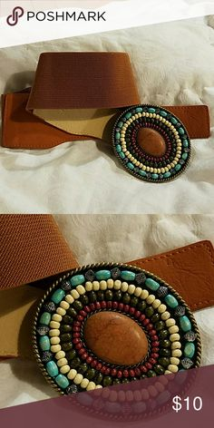 Brown elastic belt with stone studded buckle Brown elastic belt with stone studded buckle. Size sm Accessories Belts