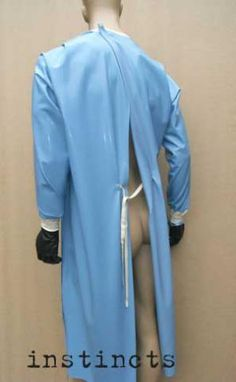 Latex rubber surgical gown medical fetish outfit